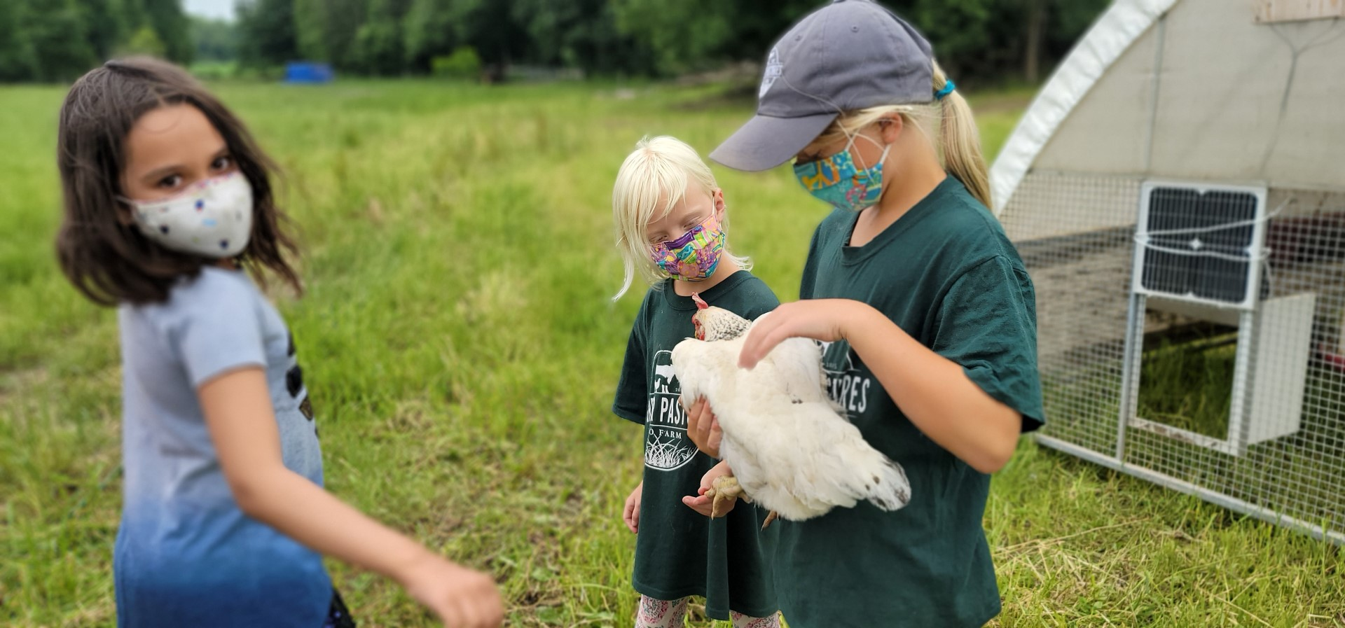 kids holding chicken and girl looking on