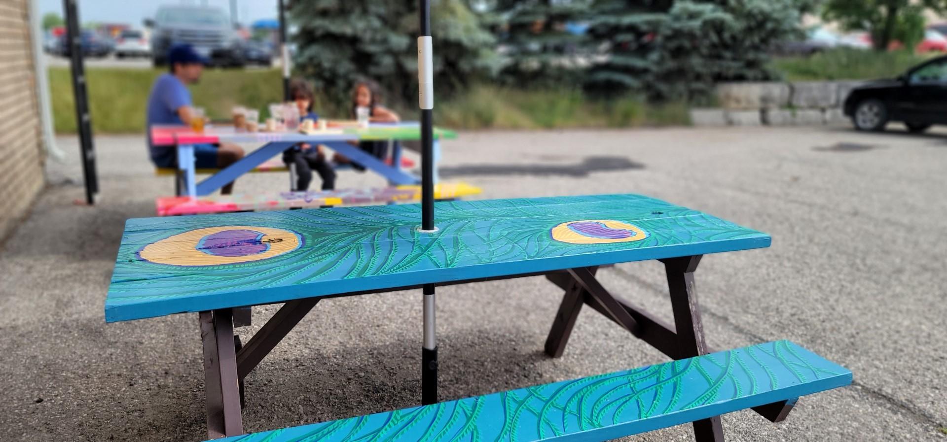 picnic bench at parking lot