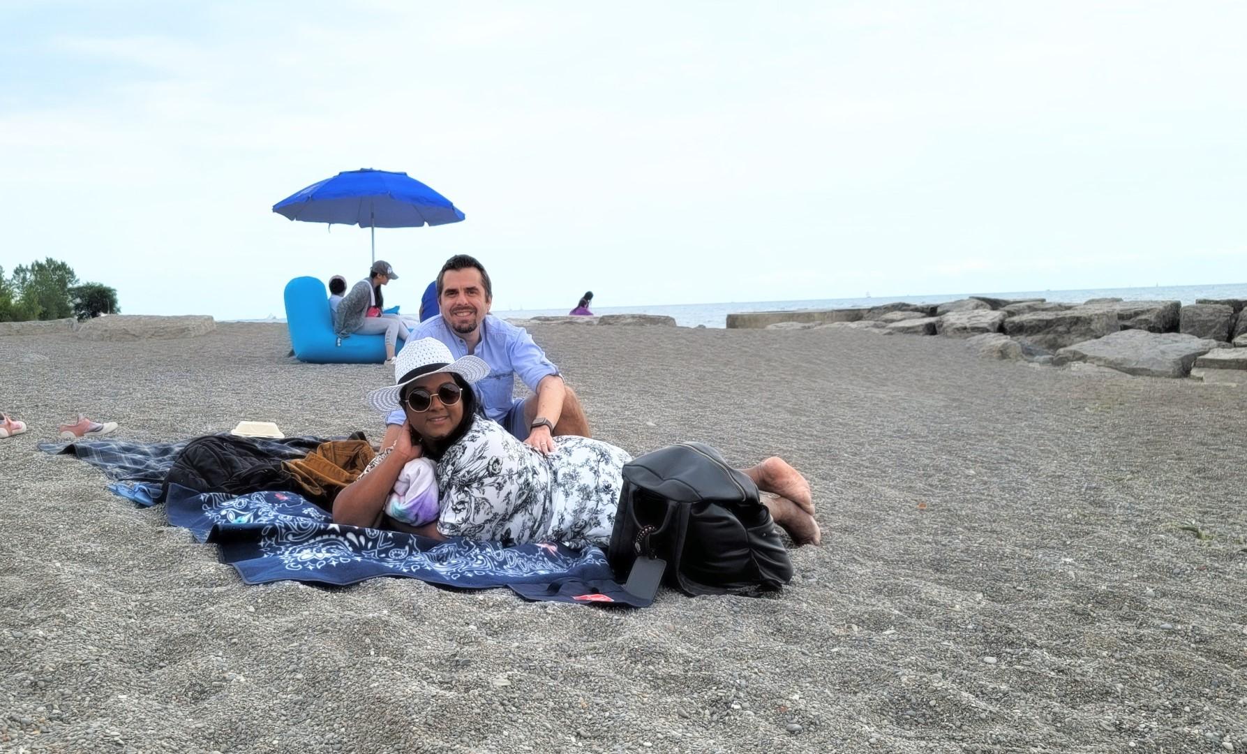 Couple on KEW beach in Toronto