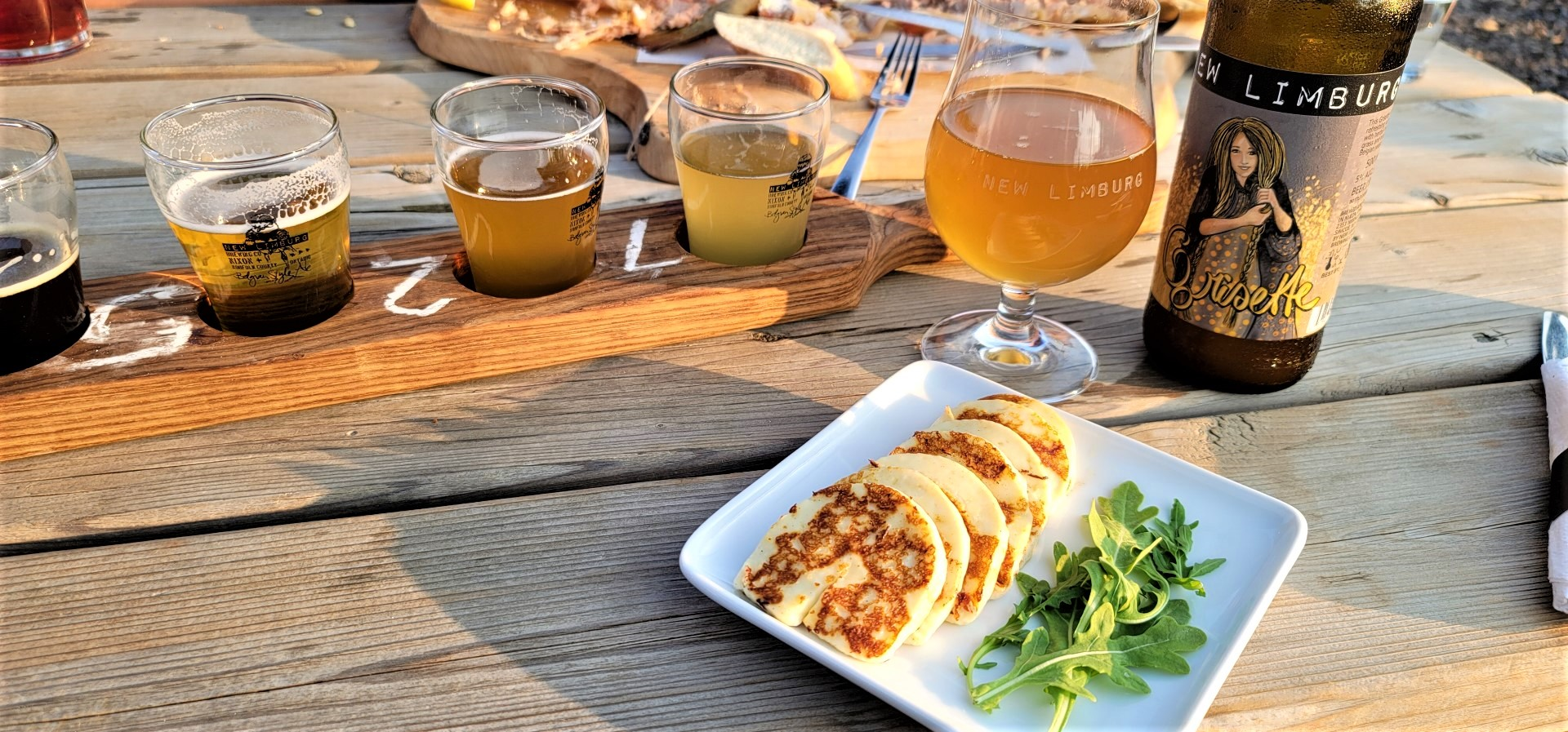grilled halloumi and beer