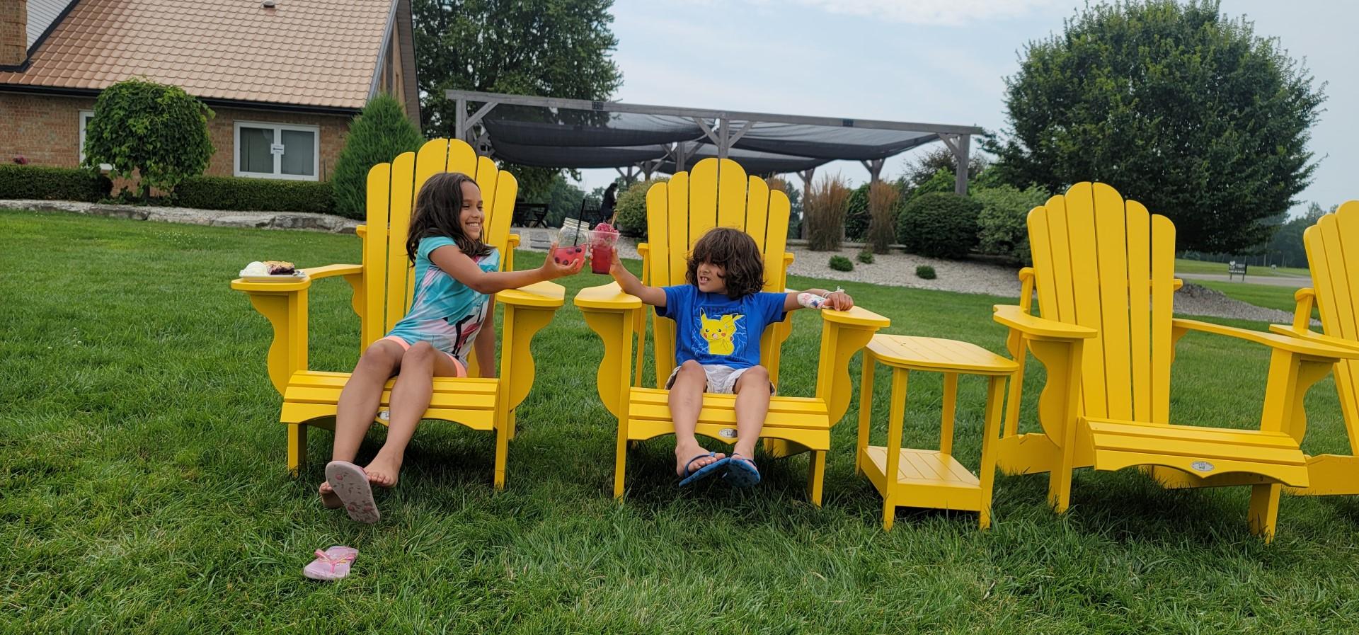 kids cheers with blueberry lemonade