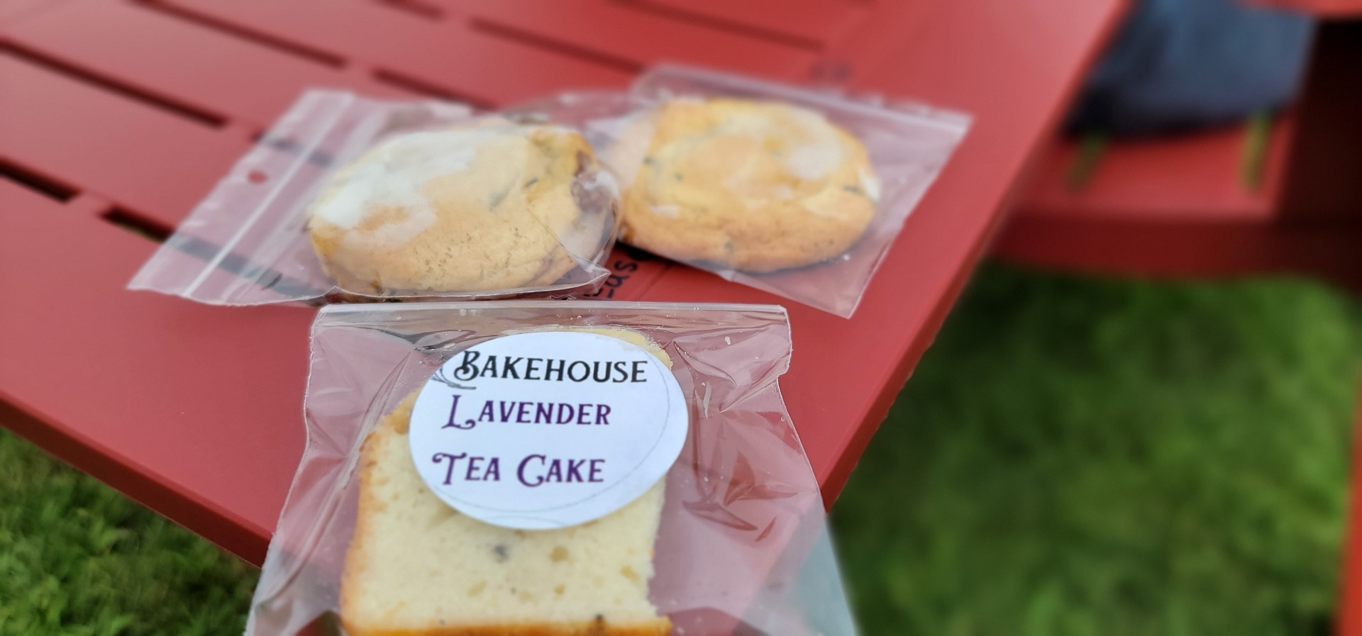 bakehouse treats at lavender farm on red table