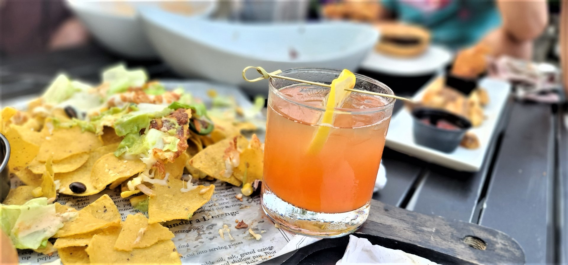 cocktails and nachos