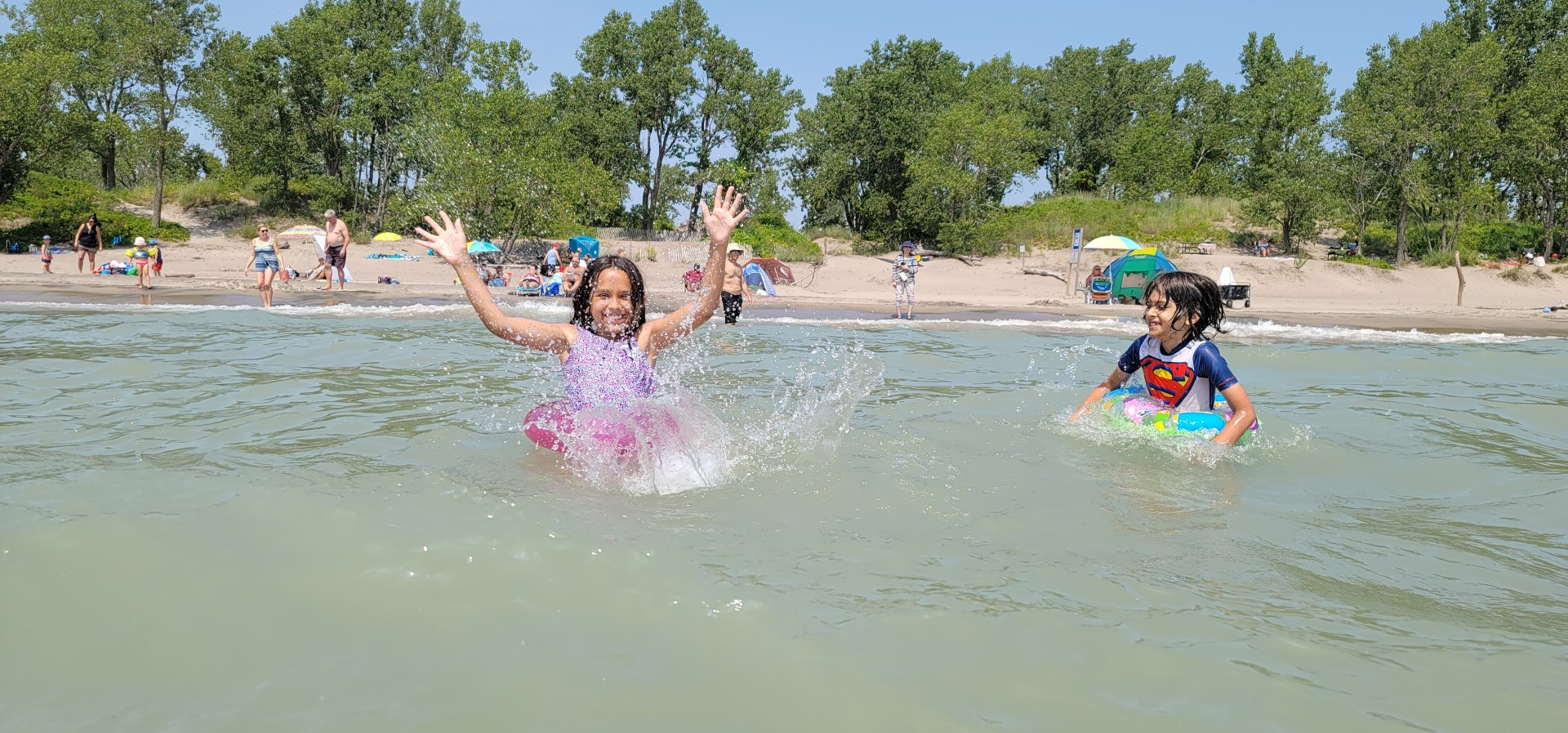 kids splashing at long point beach