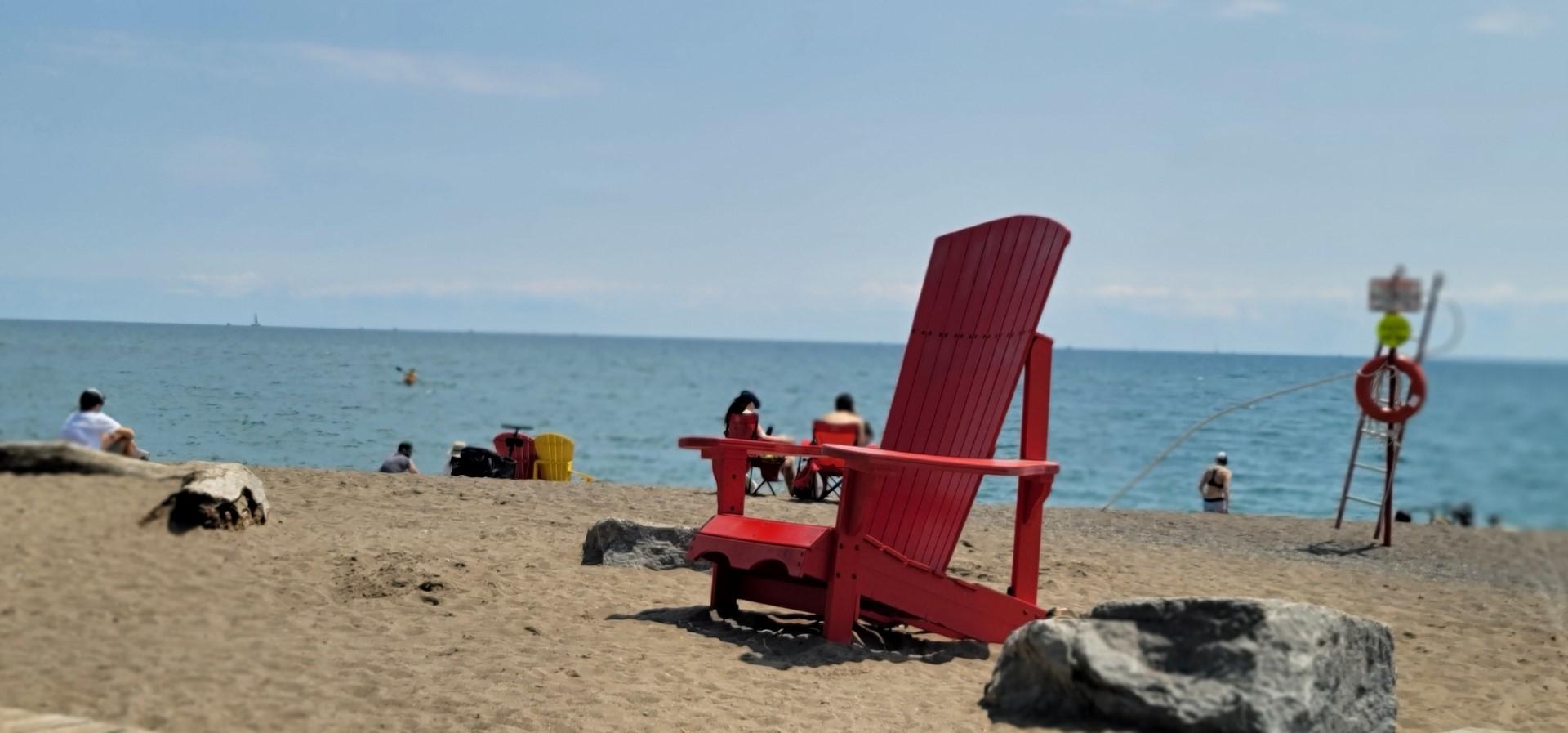 red chair in beaches toronto neighbourhood
