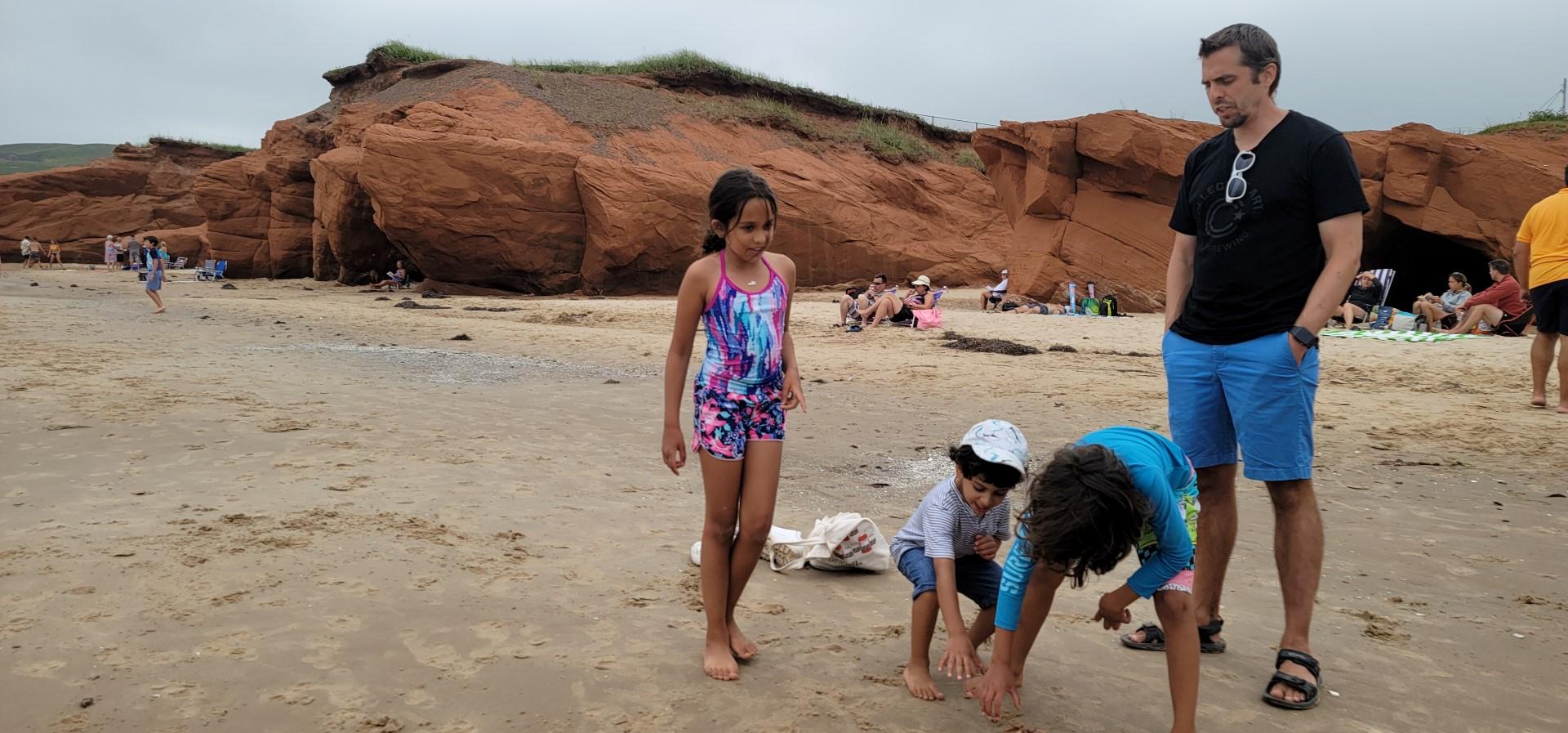 kids playing on Dune du Sud Beach