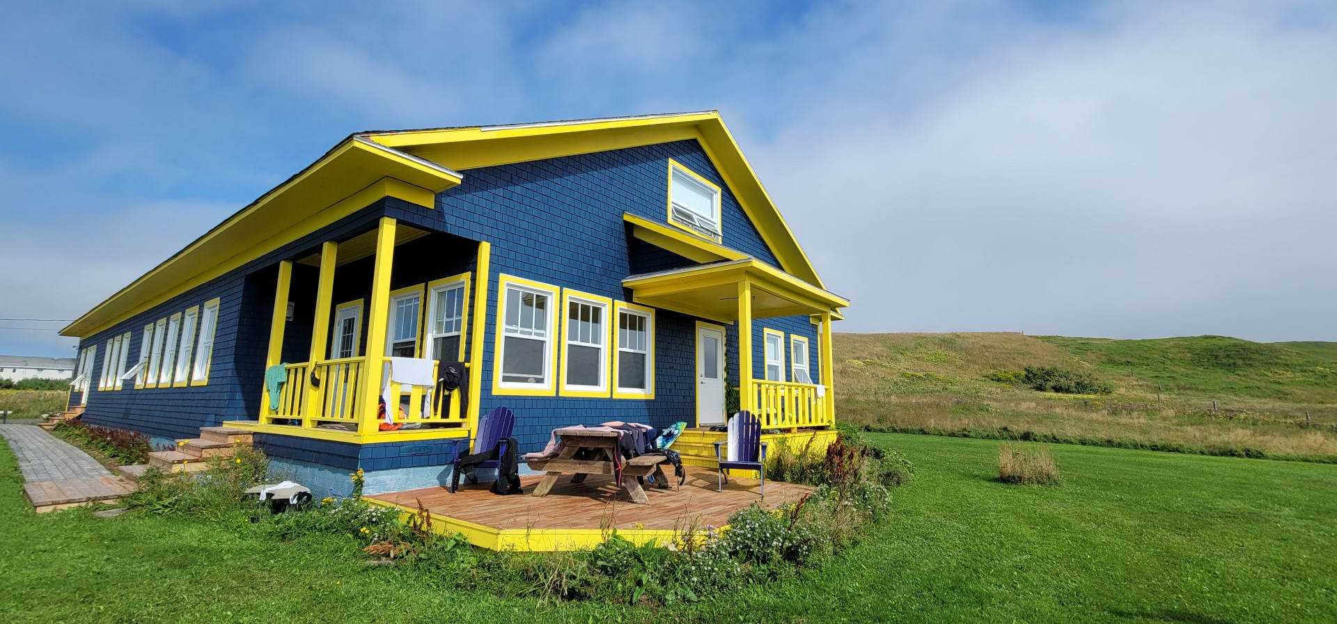 Yellow and blue house on Magdalen Islands best place to stay