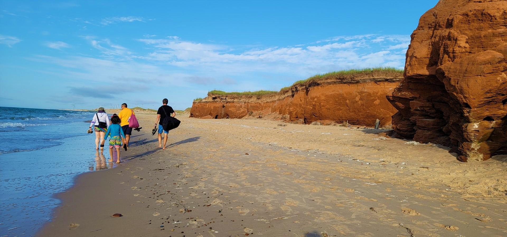 People walking on Magdalen Islands Beach