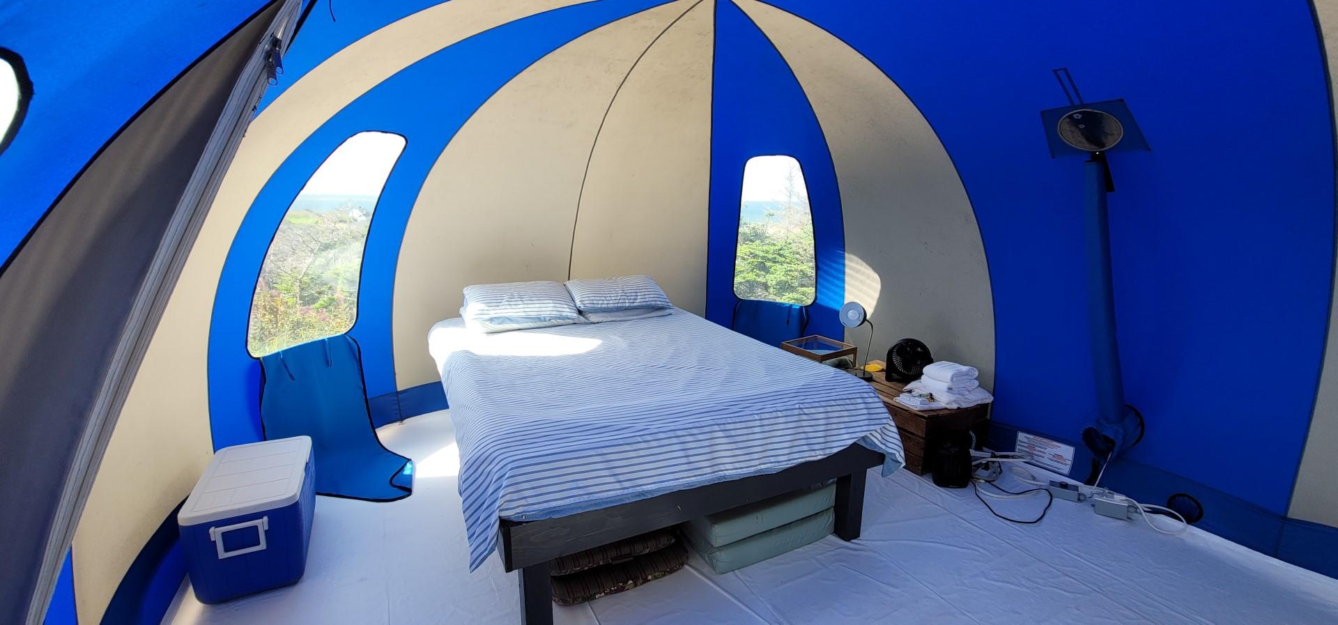 bed in blue dome unique