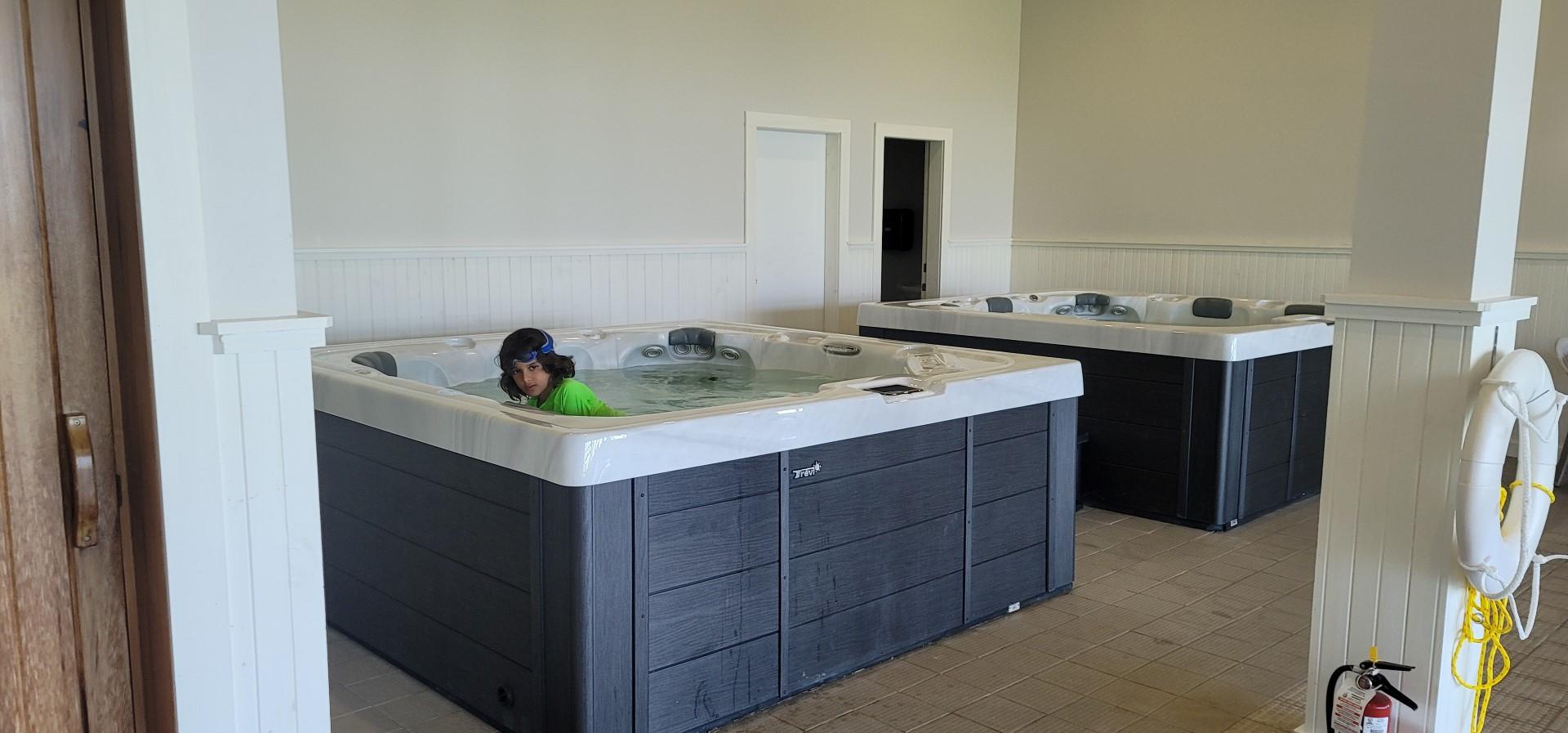 boy in hot tub
