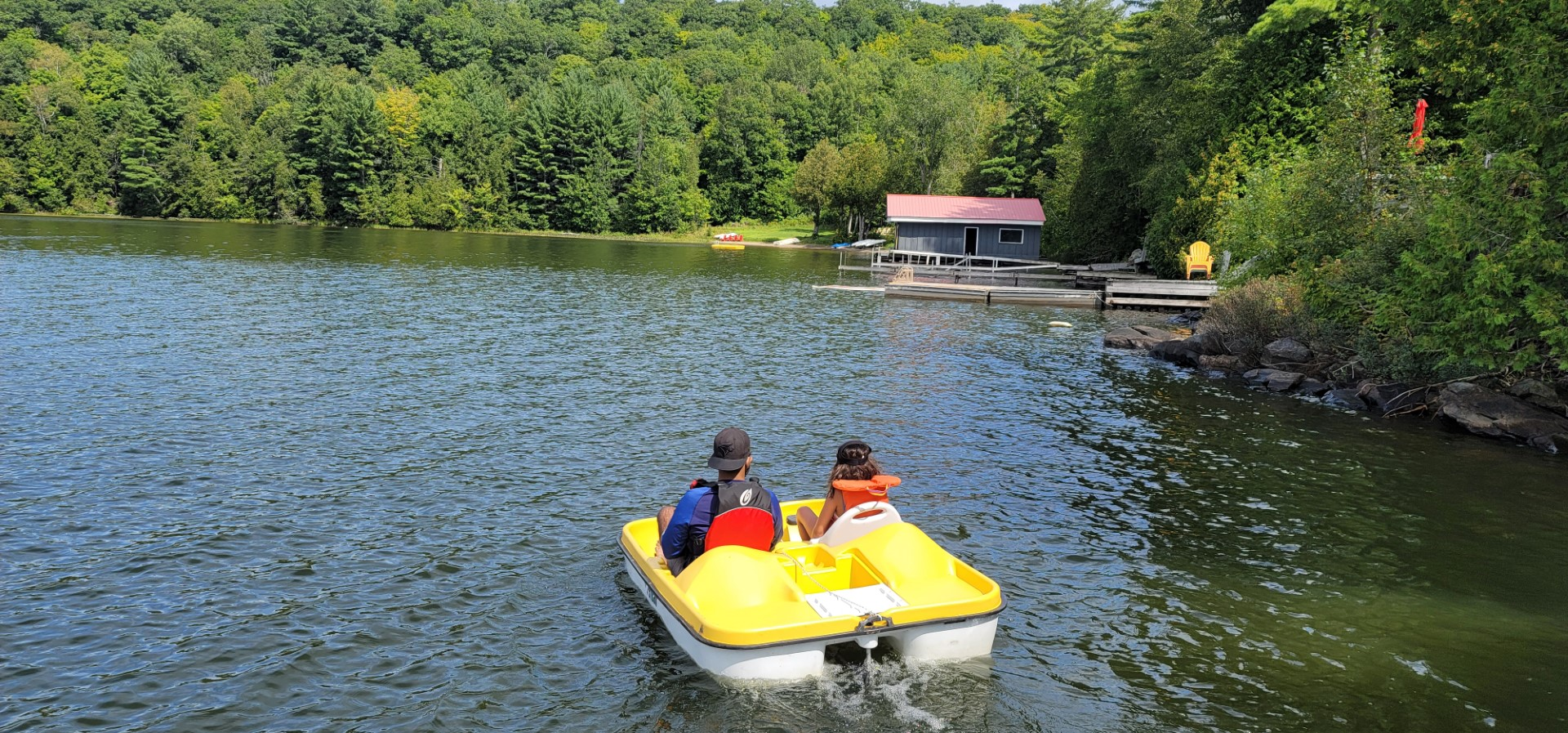 two people on yellow pedal boat