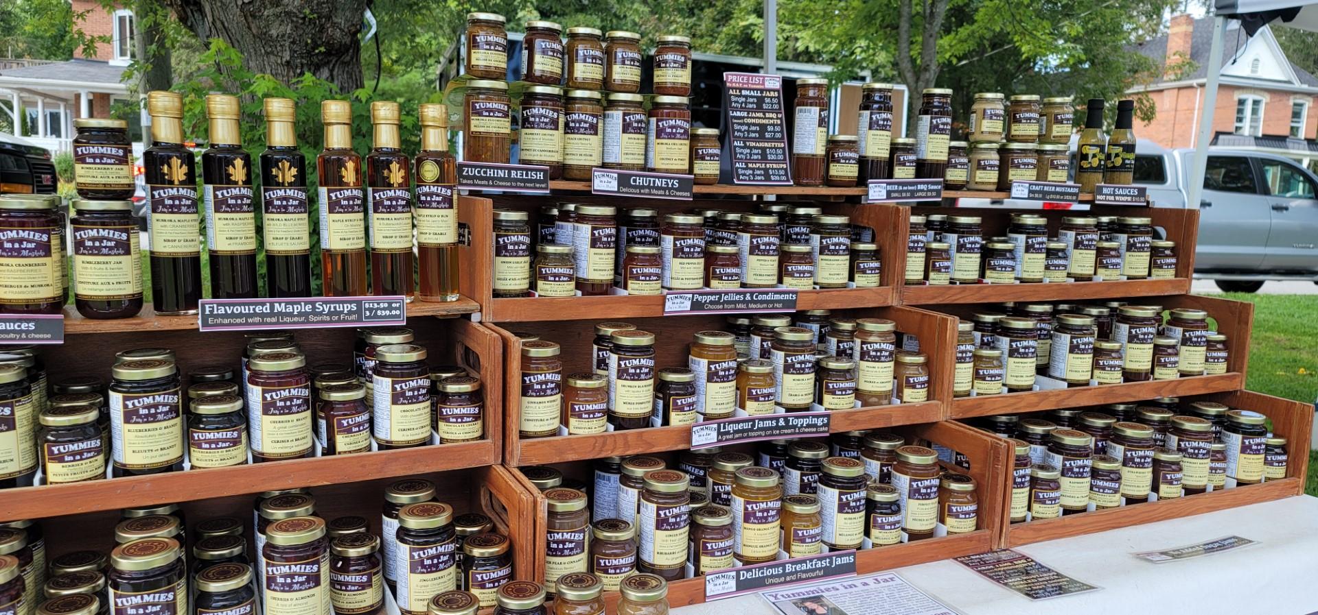 wall of jams at Bracebridge Farmer's market