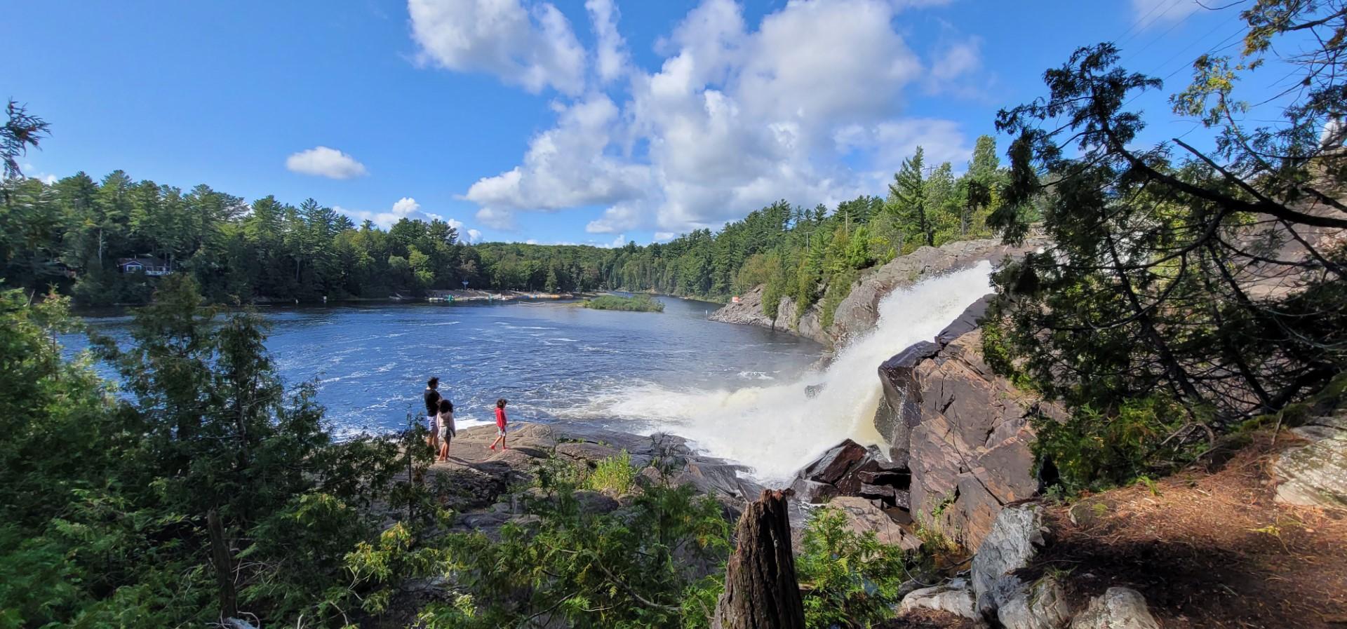 bracebridge waterfalls with people in distance