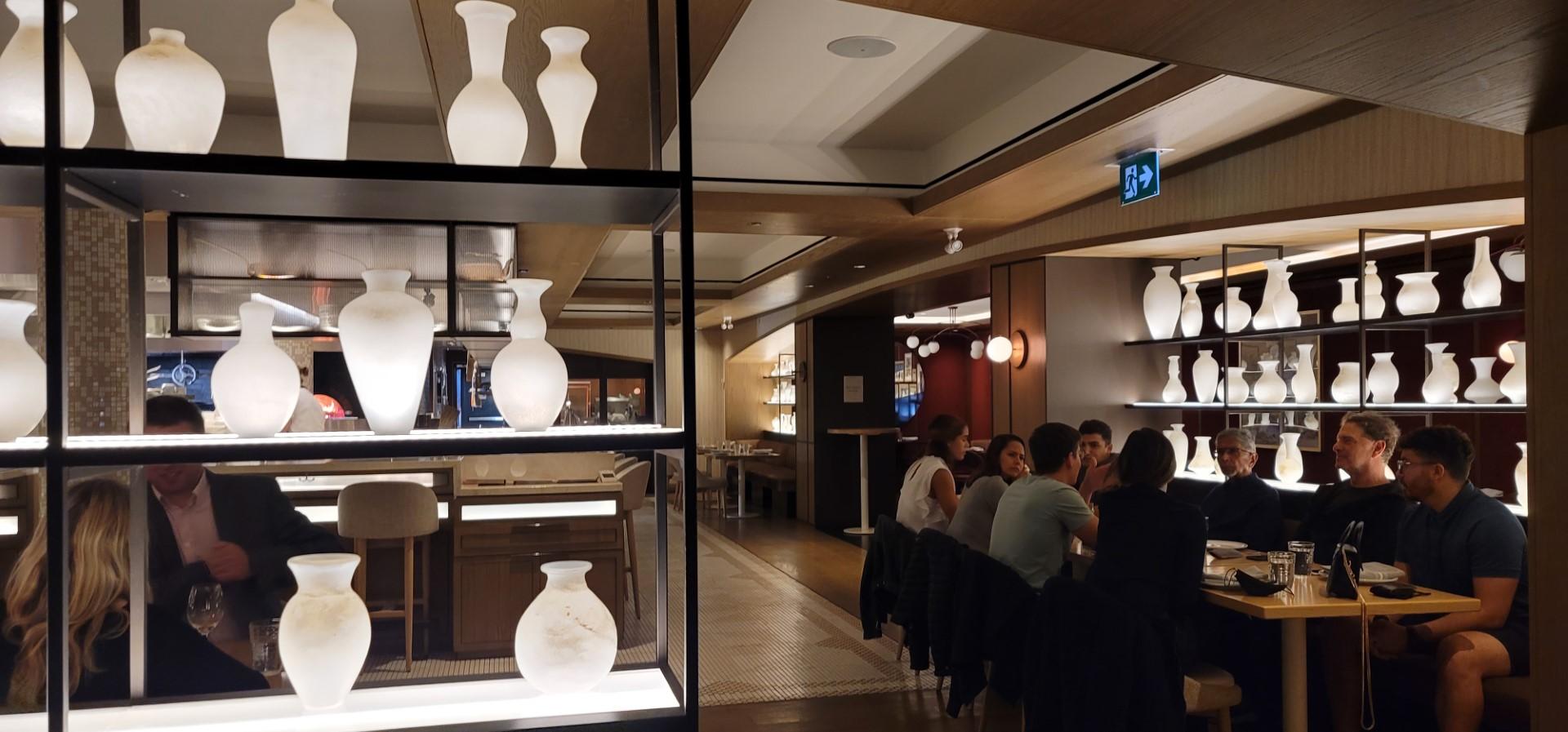 vase lamps lit up in Hotel restaurant