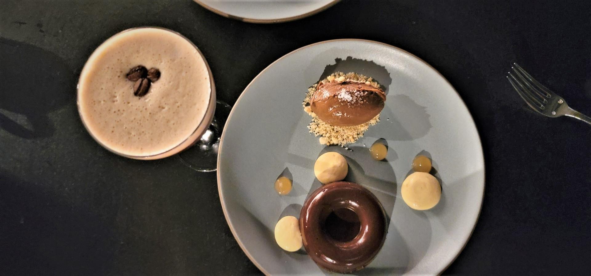 dessert on a plate with espresso martini